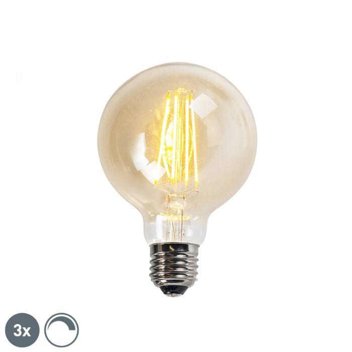 3-db-E27-szabályozható-LED-izzólámpa,-arany-vonal-G95-5W-450LM-2200K