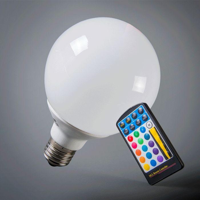 LED-gömb-E27-RGB-95mm-távirányítóval