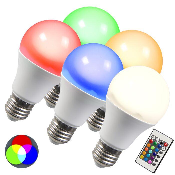 LED-izzó-RGB-E27-3W-5-ös-készlet