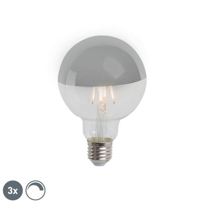 3-db-E27-szabályozható-LED-féltükör-G95-ezüst-280lm-2300K