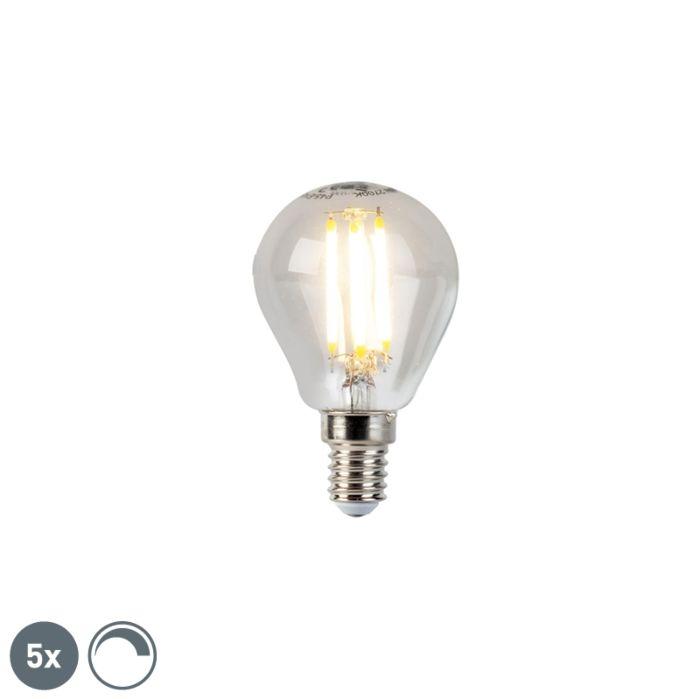 5-db-E14-szabályozható-LED-izzó-gömblámpa-5W-470lm-2700K