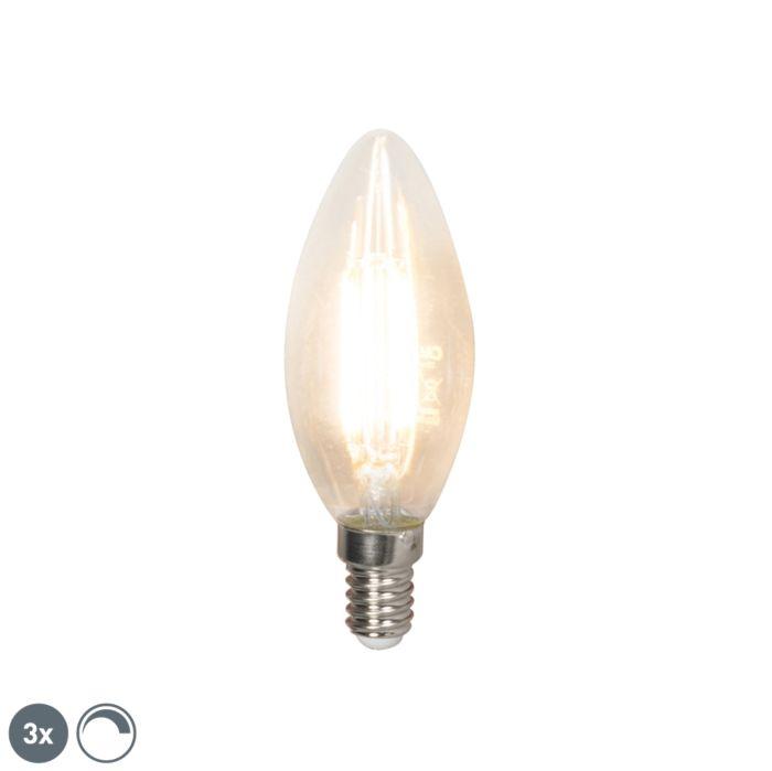 3-db-LED-es-izzólámpa-E14-240V-3,5W-350lm-B35-tompítható