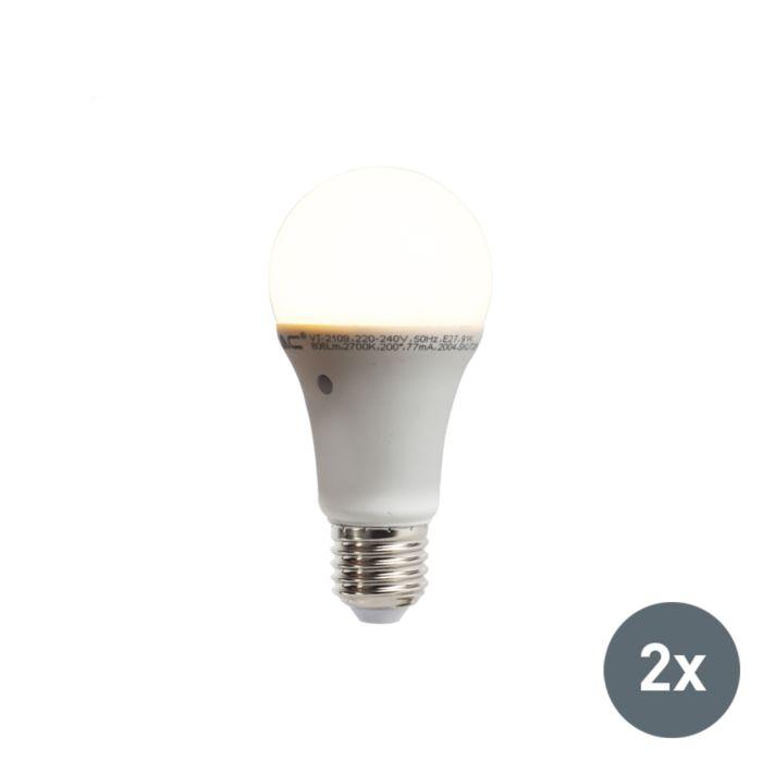 2-db-LED-lámpa-készlet-beépített-világos-sötét-érzékelővel-E27-9W-806-lumen-melegfehér-2700K