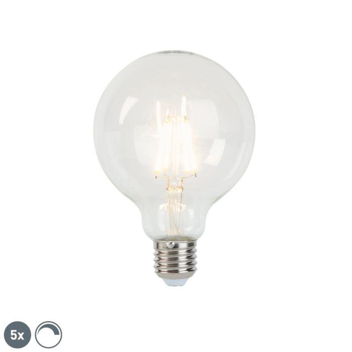 5-db-LED-es-izzólámpa-készlet-E27-5W-450lm-G95-fényerőszabályzó