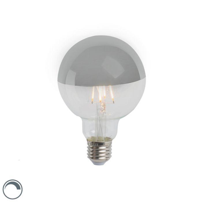 LED-izzólámpa-tükör-ezüst-E27-240V-4W-280lm-2300K-G95-tompítható