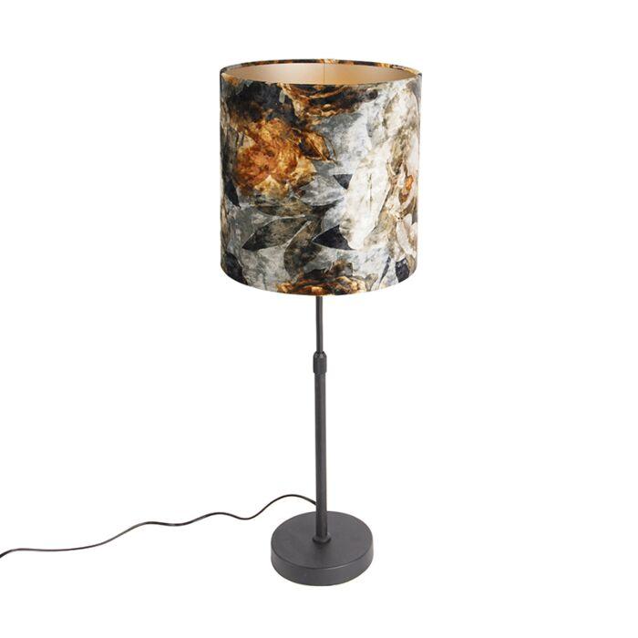 Tafellamp-zwart-met-kap-bloemen-25-cm-verstelbaar---Parte