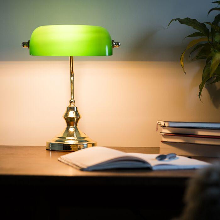 Klasszikus-asztali-lámpa-/-közjegyző-lámpa-sárgaréz,-zöld-üveggel---Banker