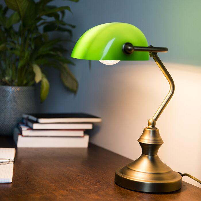 Klasszikus-asztali-lámpa-/-közjegyző-lámpa-bronz,-zöld-üveggel---Banker