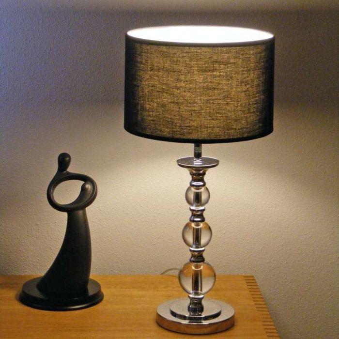 Asztali-lámpa-Calabash-króm,-fekete-árnyalattal