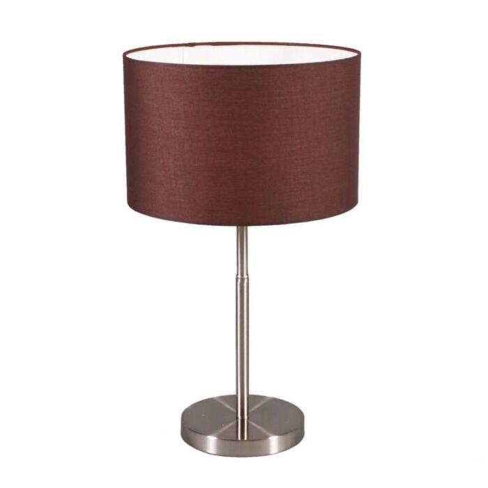 Asztali-lámpa-Dobos-acél-barna-árnyalattal