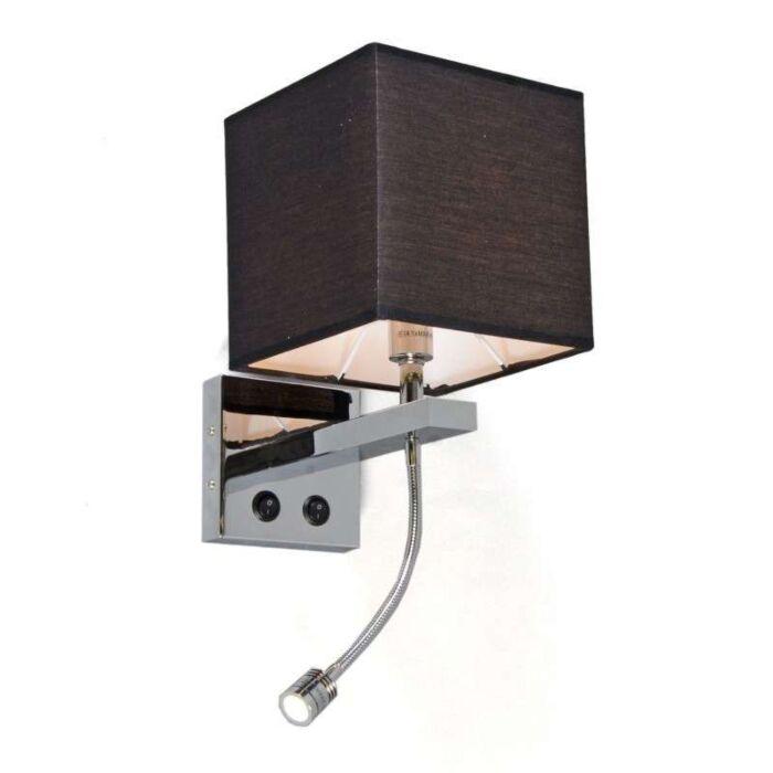 Fali-lámpa-Brescia-króm,-fekete-árnyalattal