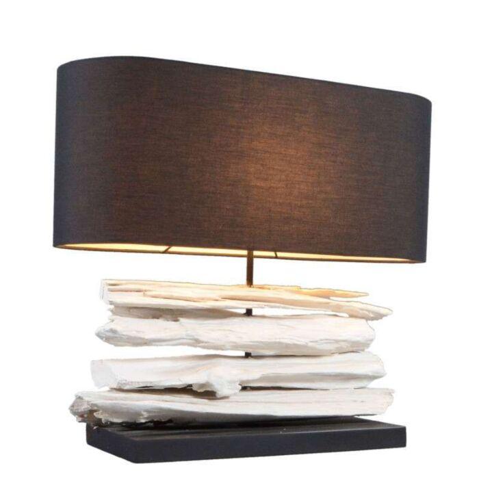 Asztali-lámpa-Satun-közepes-fehér,-fekete-árnyalattal
