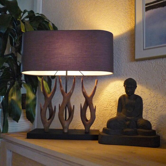 Vidéki-asztali-lámpa-Yindee-Recta-barna-árnyalattal