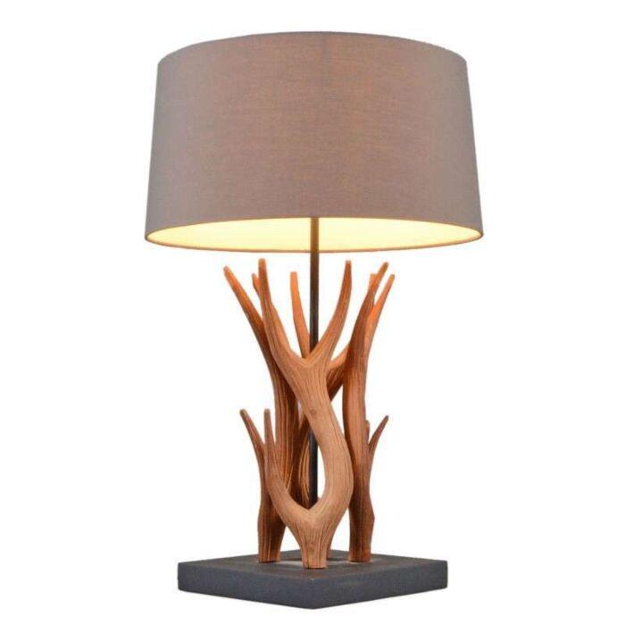 Asztali-lámpa-Yindee-természetes,-barna-árnyalattal