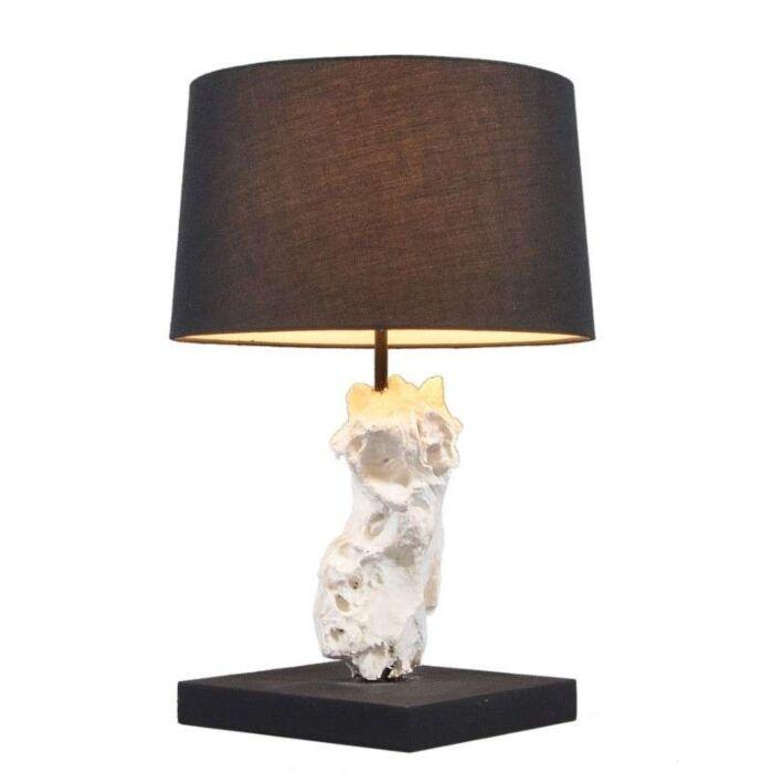 Asztali-lámpa-Kanya-fehér,-fekete-árnyalattal