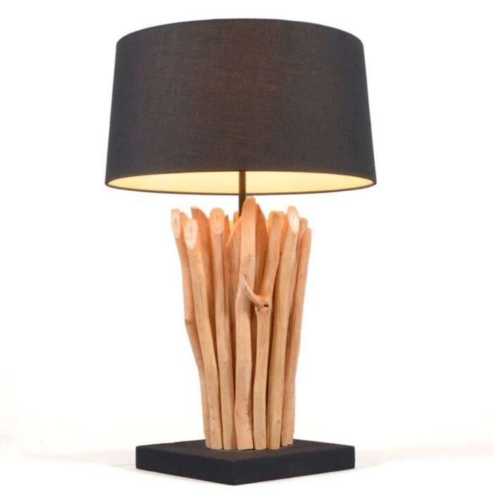 Asztali-lámpa-Phatom-természetes,-fekete-árnyalattal