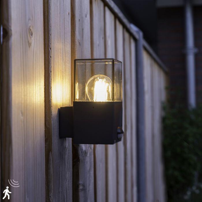 Kültéri-fali-lámpa-sötét-szürke,-IP44-mozgásérzékelővel---Dánia