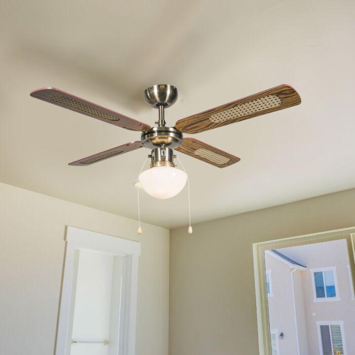 Ipari-mennyezeti-ventilátor-lámpával-100-cm-es-fa---szél