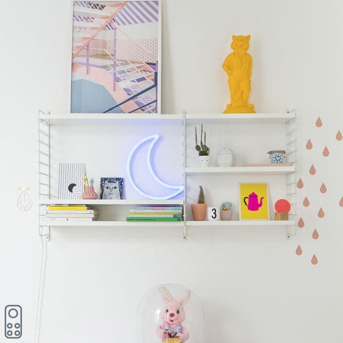 Fali-lámpa-kék-távirányítóval,-LED-del---Neon-hold