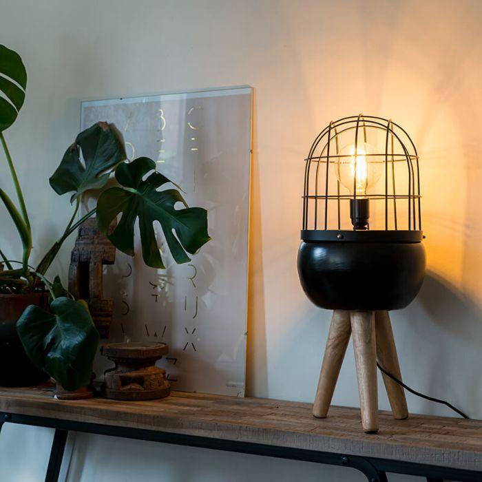 Modern-asztali-lámpa-fekete-fa-állványon---madarak