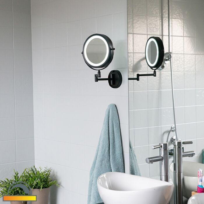 Design-fürdőszoba-tükör-fekete,-LED-állítható-IP44---Vicino