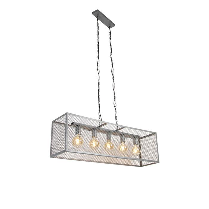 Ipari-függesztett-lámpa-antik-ezüst-5-lámpa---Cage-Robusto