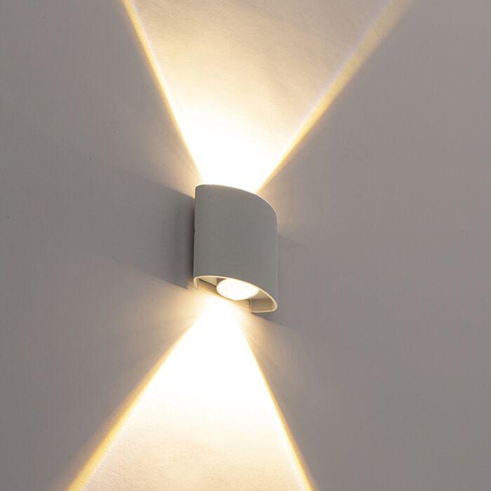 Design-kültéri-fali-lámpa-ezüst,-2-LED-es-lámpával---Silly