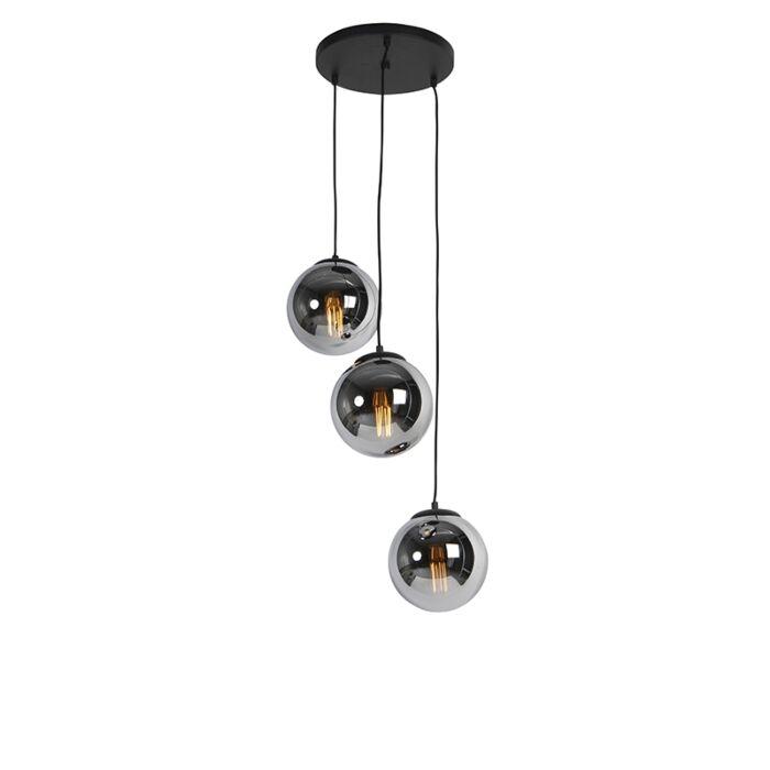 Art-deco-függesztett-lámpa-fekete-füstüveggel,-3-lámpával---Pallon