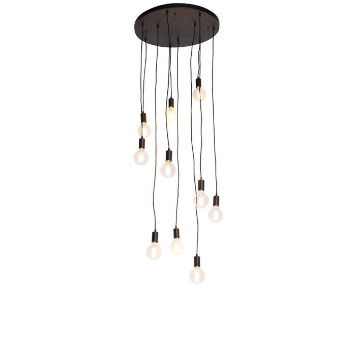Modern-függesztett-lámpa-fekete-60-cm-10-lámpa---Facil