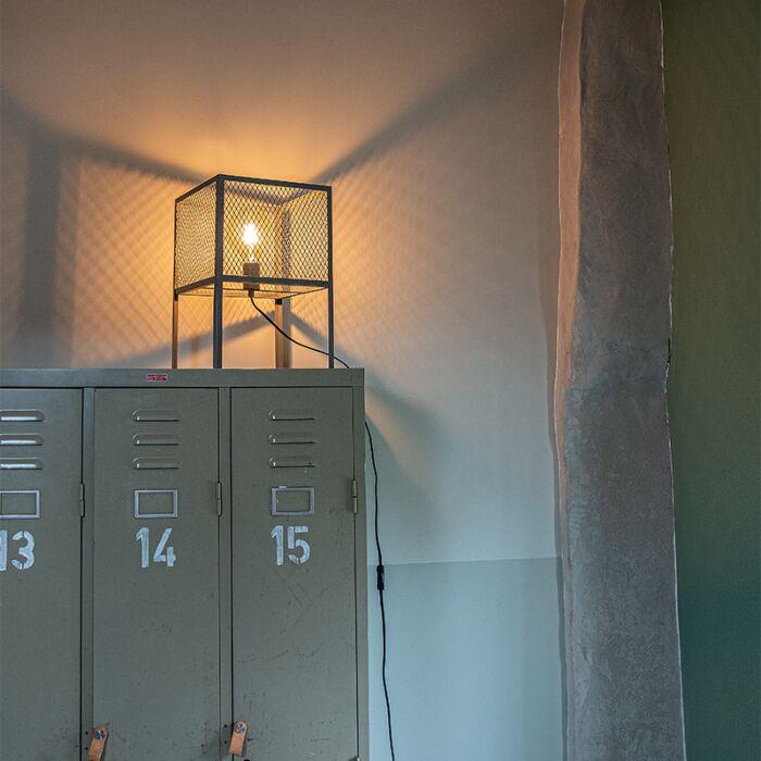 Ipari-asztali-lámpa-antik-ezüst---Cage-Robusto