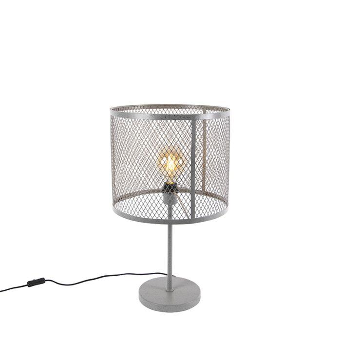 Ipari-kerek-asztali-lámpa-antik-ezüst---Cage-Robusto