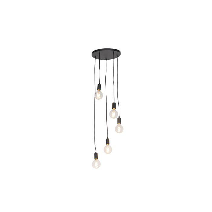 Modern-függesztett-lámpa-fekete-35-cm-5-lámpa---Facil