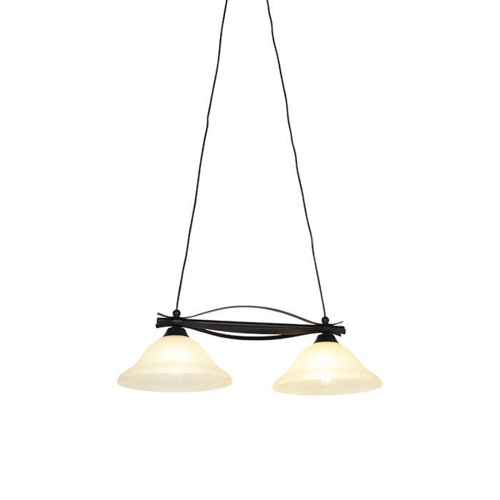 Klasszikus-függesztett-lámpa-barna,-bézs-színű-üveggel,-2-lámpa---Pirata