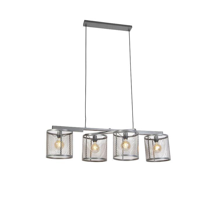 Ipari-függesztett-lámpa-antik-ezüst-4-lámpa---Cage-Robusto